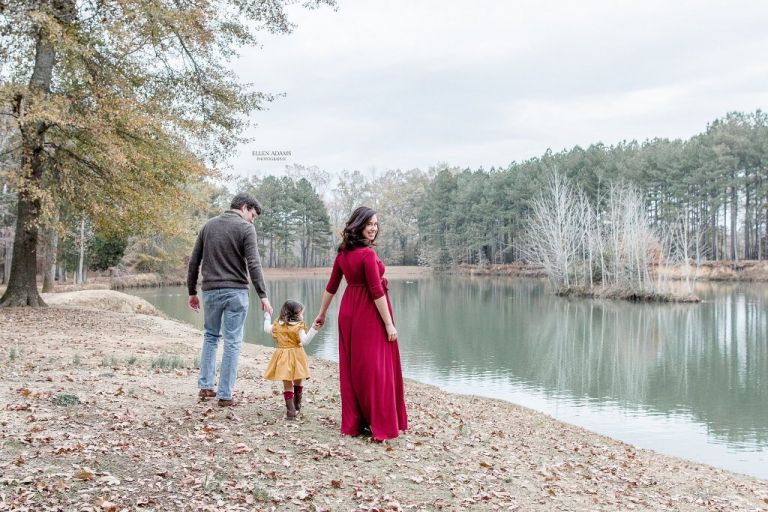 Family picture at Hays Nature Preserve in Huntsville, AL by Ellen Adams Photography.