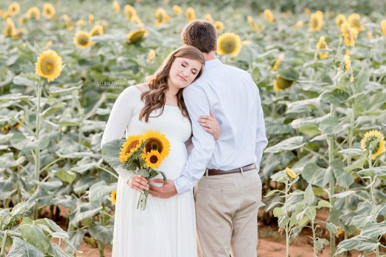 Ellen Adams Photography maternity pictures in a sunflower field.