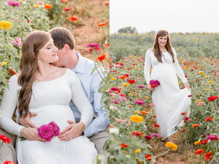 Kiss in the flowers captured by Ellen Adams Photography.