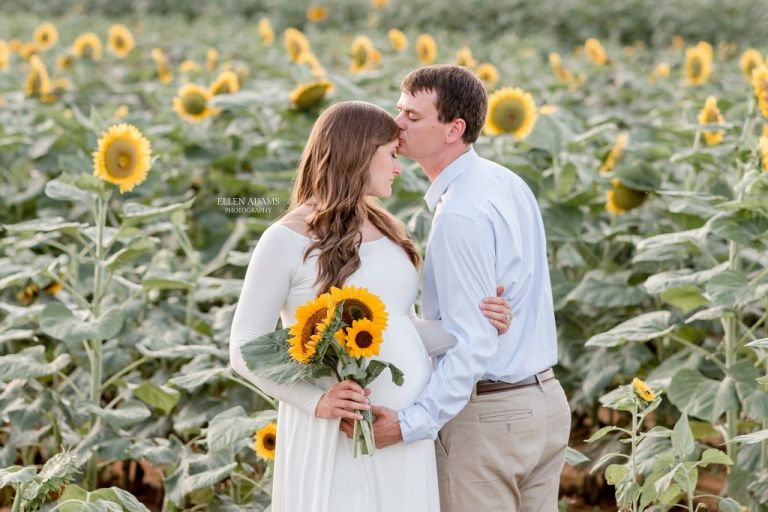 Sunflower maternity photoshoot by Ellen Adams Photography