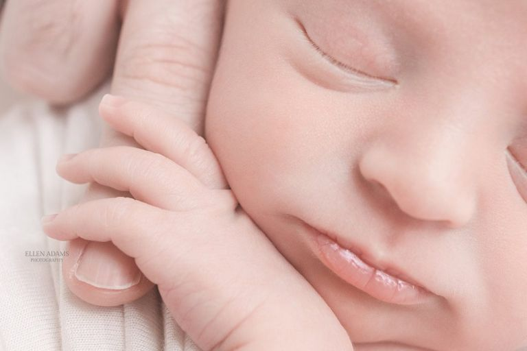 Madison, AL newborn photographer image of baby holding daddy's finger, by Ellen Adams Photography.