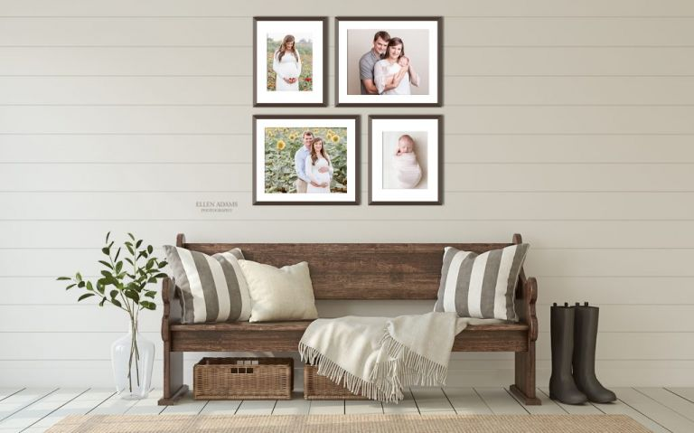 Ellen Adams Photography Newborn Photography image of newborn with family next to maternity pictures.
